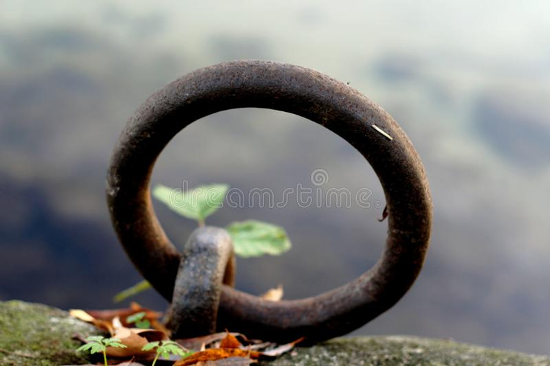 Mooring ring, closeup on a mooring ring on the banks of Seine stock photos