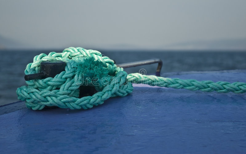 Mooring Rope Tied To Boat Royalty Free Stock Photo