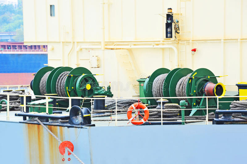 Mooring winch with hawser stock images
