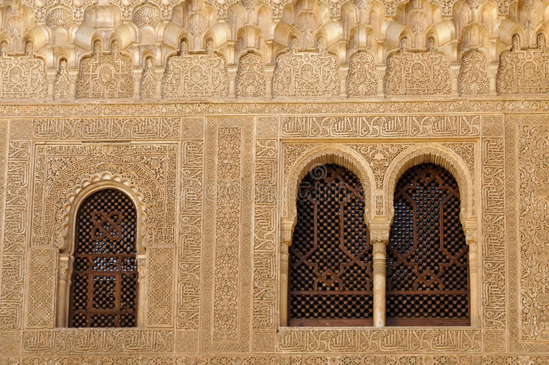 Moorish architecture inside the Alhambra stock photo