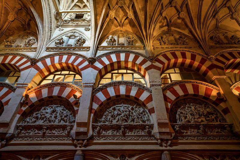 Moorish architecture inside the Mezquita Cathedral in Cordoba, Andalusia, Spain royalty free stock photography