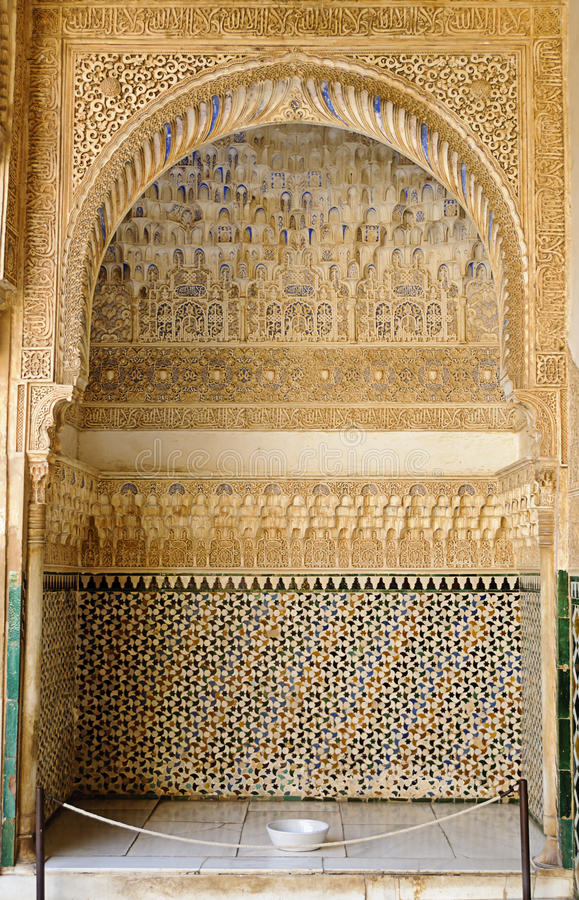 Moorish art and architecture inside the Alhambra stock photography