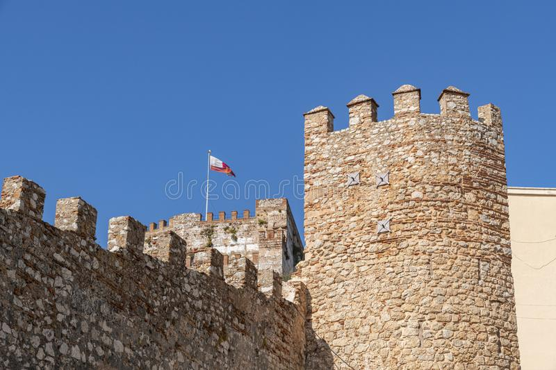 Moorish Castle tower and walls Gibraltar. Moorish Castle tower and walls view from Tarik passage in Gibraltar, Europe stock image