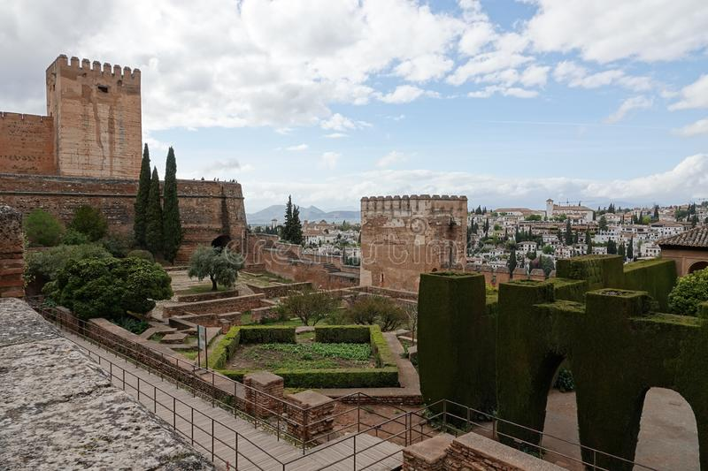View from the Alcazaba of Alhambra to the Albaicin in Granada, Andalusia. The moorish complex Alhambra is located on top of the hill al-Sabika, on the left bank royalty free stock photos