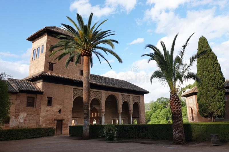 Garden of the Partal at the Alhambra in Granada, Andalusia. The moorish complex Alhambra is located on top of the hill al-Sabika, on the left bank of the river stock photos