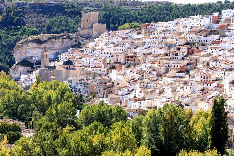 Moorish fortress in Spanish Alcala del Jucar. Alcala del Jucar is located to the Northeast of the province of Albacete, where the Jucar river leaves Castilla La royalty free stock photography