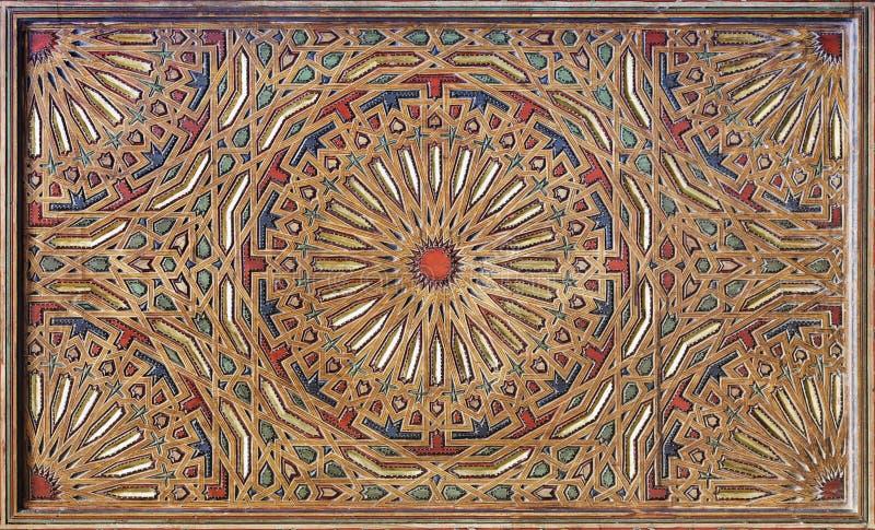 Moorish painting on wood ceiling vector illustration