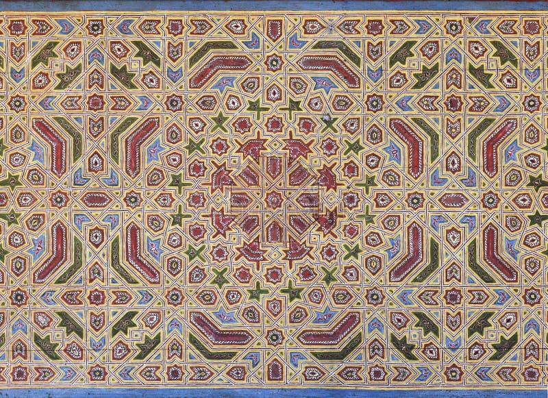 Moorish painting on wood ceiling stock illustration