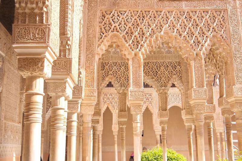 Moorish Palace, Granada, Spain, Europe. Moorish Palace stone carvings, Granada, Spain, Europe royalty free stock photography
