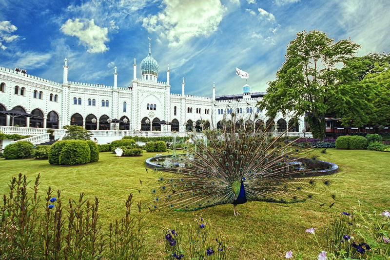 Moorish Palace in Tivoli Gardens, Copenhagen stock images