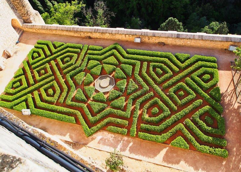 Moorish Style Formal Garden Hedge Design, Segovia, Spain royalty free stock photos
