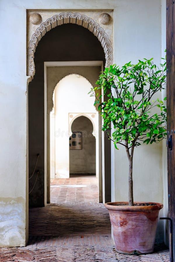Moorish styled door entrance in Alcazaba of Malaga, Spain royalty free stock photos