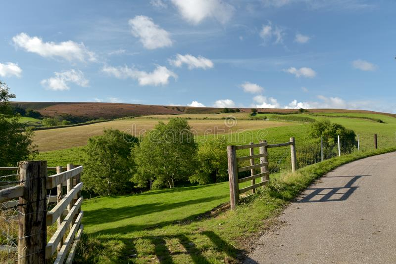Moorland nad Doone dolina, Exmoor, Północny Devon zdjęcia stock
