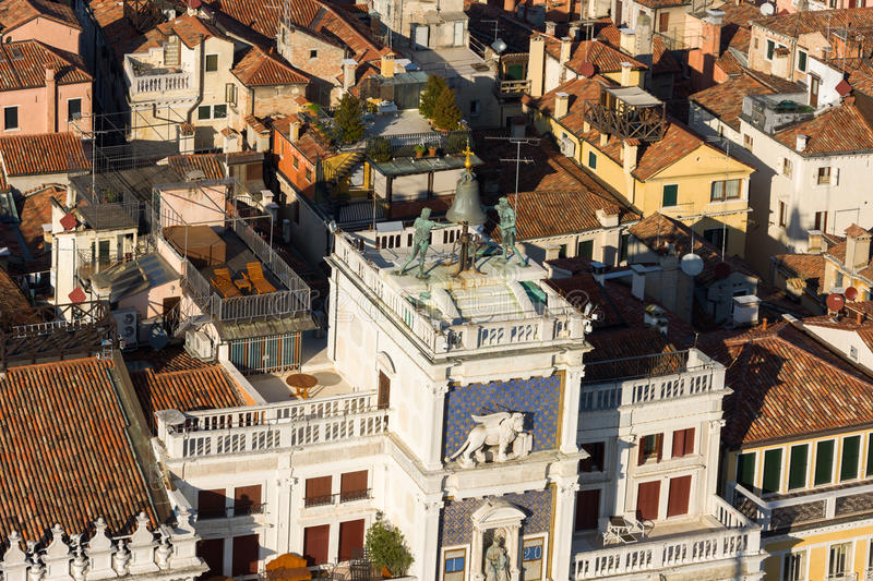 The Moors' clock tower in Venice. Italy stock images