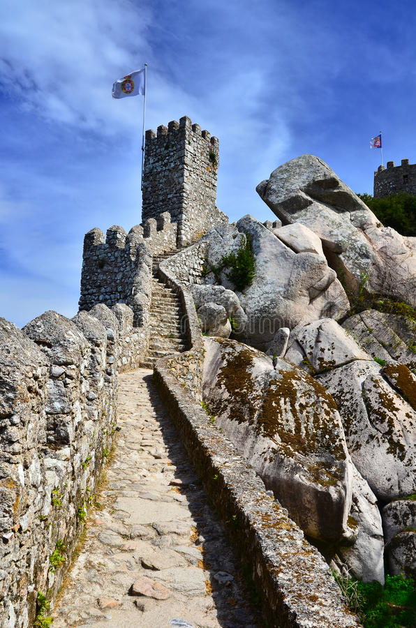 Moors Castle surroundin walls, Sintra in Portugal stock photography