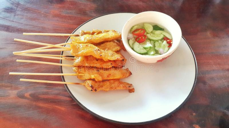 Moosatae Thailand van voedselazië voedsel van Thai stock afbeelding