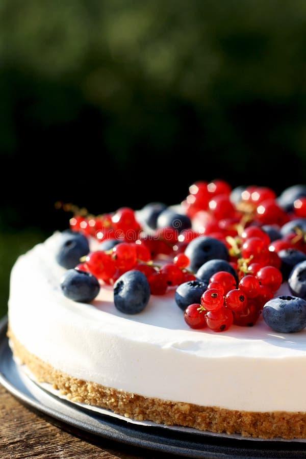 Moosbeere- und Blaubeere-4. Juli-Joghurtkäsekuchen lizenzfreies stockbild