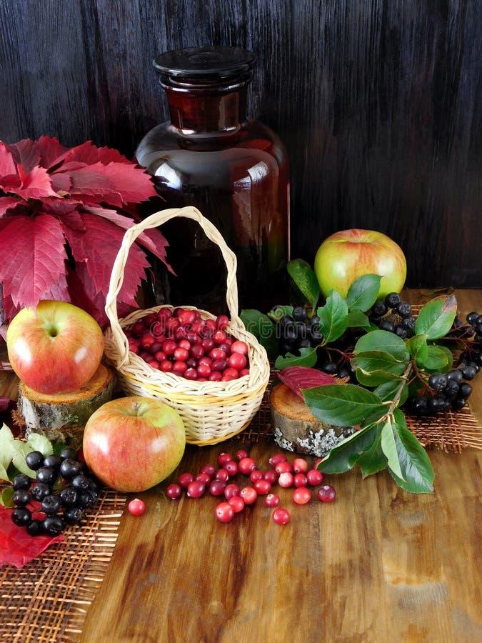 Moosbeeren in einem Weidenkorb umgeben durch Äpfel, schwarze Eberesche und roten Herbstlaub stockfotos