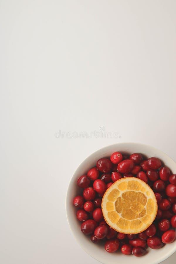 Moosbeeren und saftige orange Scheibe stockfotografie