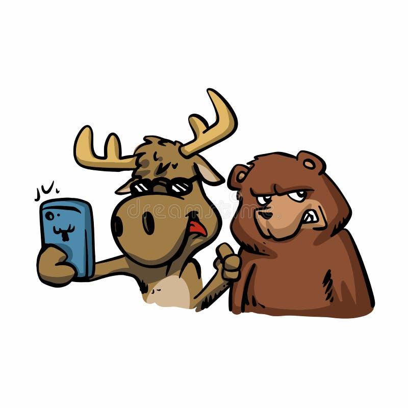 Moose and bear taking selfie cute cartoon stock illustration