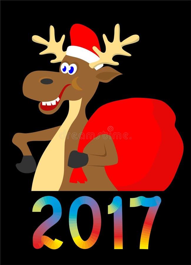 Moose illustration , cartoon deer, moose image on white background. Moose picture, cartoon deer, moose image on white background, Christmas elk image stock illustration