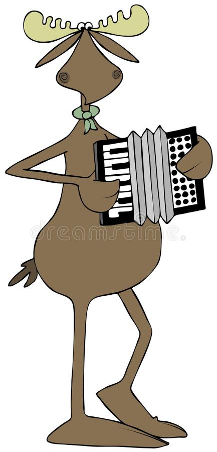 Moose playing an accordion. Illustration of a bull moose playing an accordion royalty free illustration