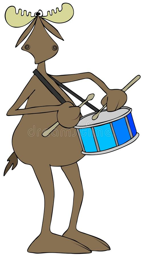 Moose playing a snare drum royalty free illustration