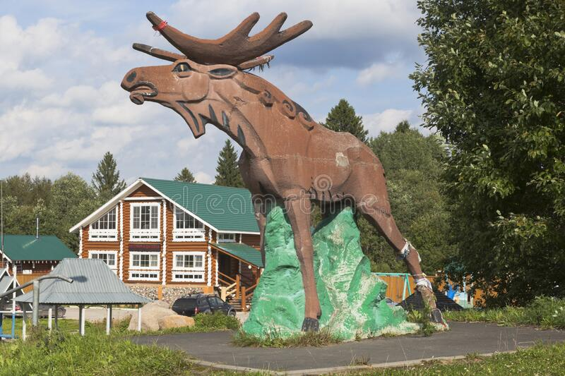 Moose sculpture on the M8 highway in Sokolsky district of the Vologda region stock images