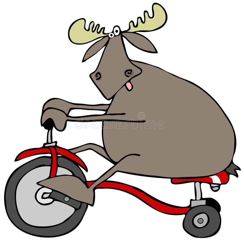 Moose on a tricycle royalty free illustration