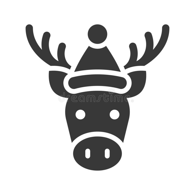 Moose wearing santa hat silhouette icon design. Moose wearing santa hat, silhouette icon design royalty free illustration