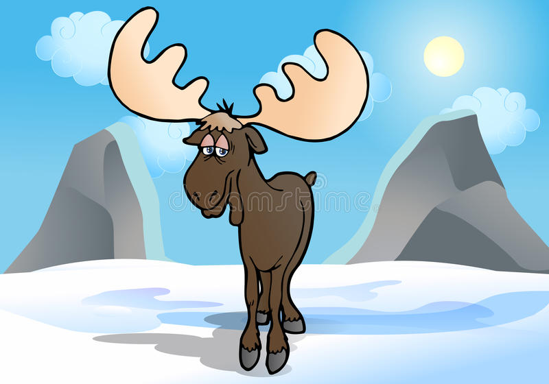 Moose in winter. Cartoon graphic illustration of a comical moose the great reindeer in winter stock illustration