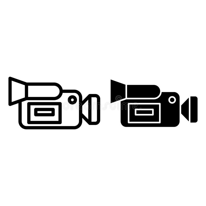 Moovie camera line and glyph icon. Portable video camera vector illustration isolated on white. Film camera outline. Style design, designed for web and app. Eps stock illustration