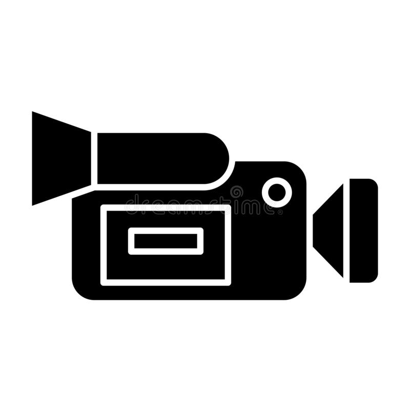 Moovie camera solid icon. Portable video camera vector illustration isolated on white. Film camera glyph style design. Designed for web and app. Eps 10 vector illustration