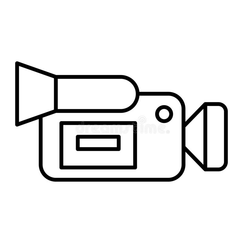 Moovie camera thin line icon. Portable video camera vector illustration isolated on white. Film camera outline style. Design, designed for web and app. Eps 10 vector illustration