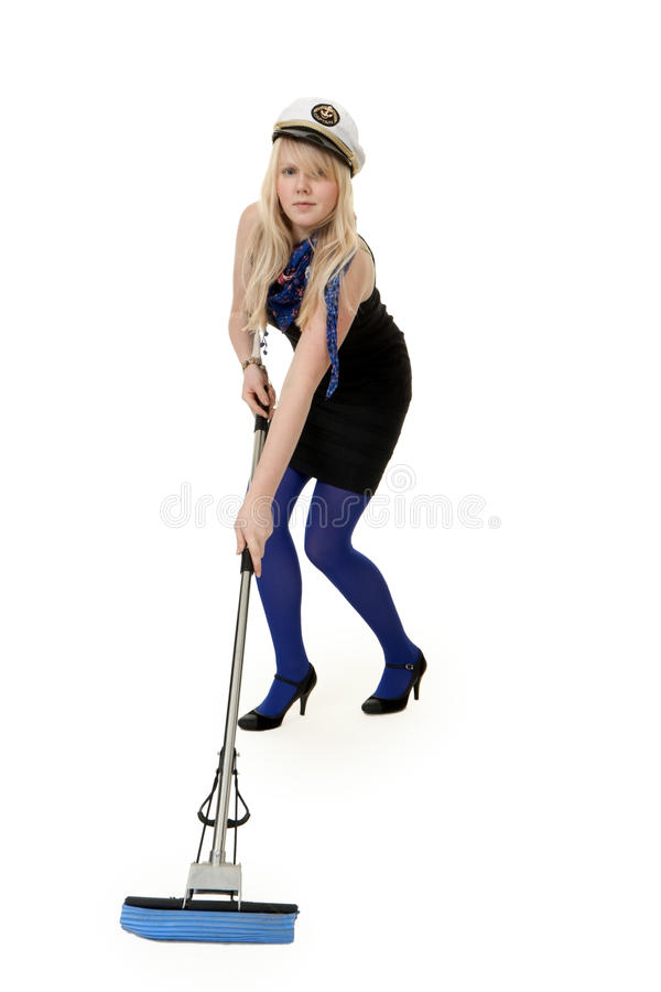 mop девушки стоковые изображения rf
