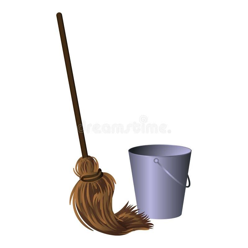 Mop com ícone de bucket, estilo de desenho animado ilustração stock