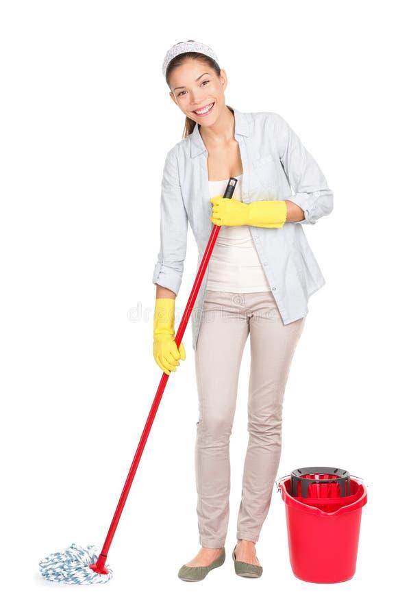 Mop di lavaggio del pavimento della donna di pulizia fotografia stock