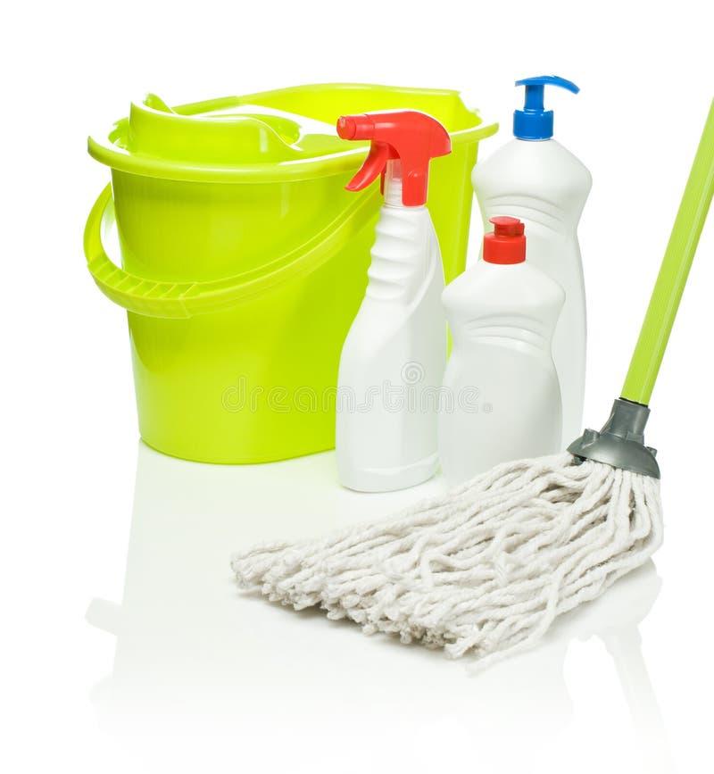 mop för flaskhinkgreen royaltyfri fotografi