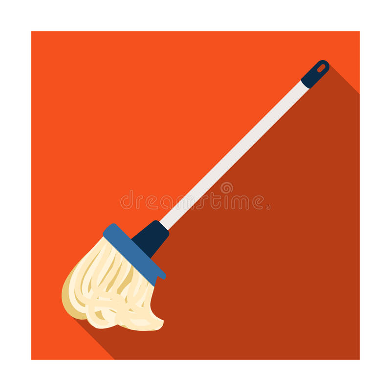 Mop icon in flat style isolated on white background. Cleaning symbol. vector illustration