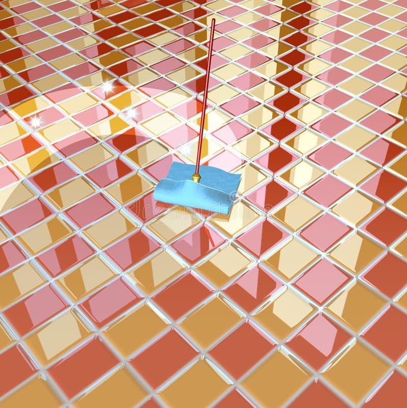 Mop and orange chequerboard floor. 3d rendering illustration, mop and orange chequerboard floor royalty free illustration