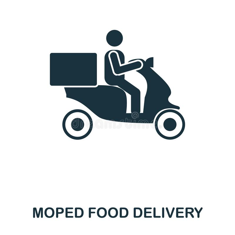 Moped Food Delivery icon. Mobile apps, printing and more usage. Simple element sing. Monochrome Moped Food Delivery icon. Illustration stock illustration
