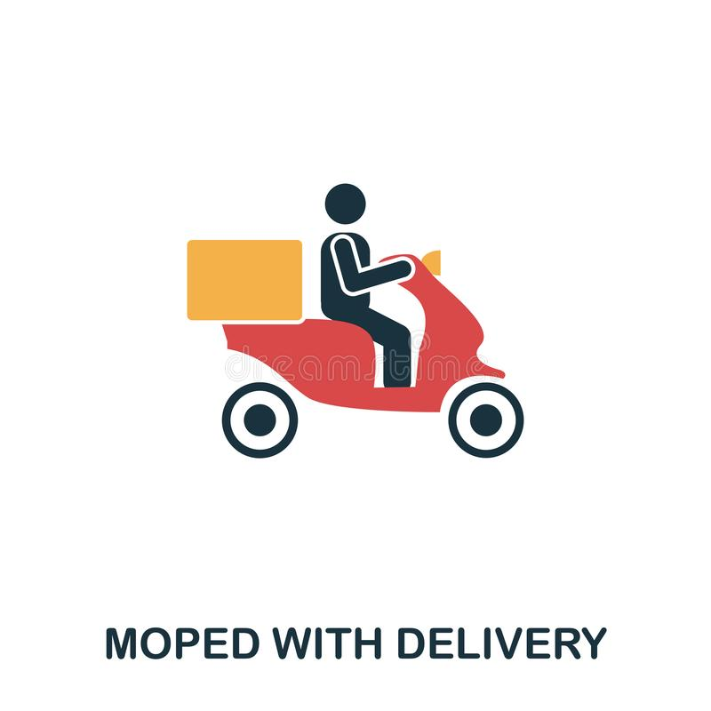 Moped Food Delivery icon. Mobile apps, printing and more usage. Simple element sing. Monochrome Moped Food Delivery icon illustrat. Ion royalty free illustration
