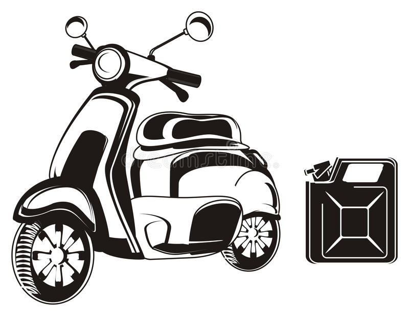 Moped i kanister royalty ilustracja