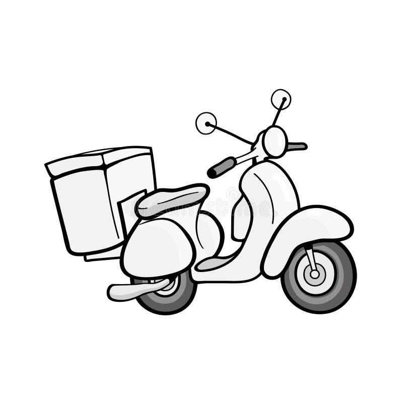 Moped med leverans som isoleras på vit bakgrund royaltyfri illustrationer