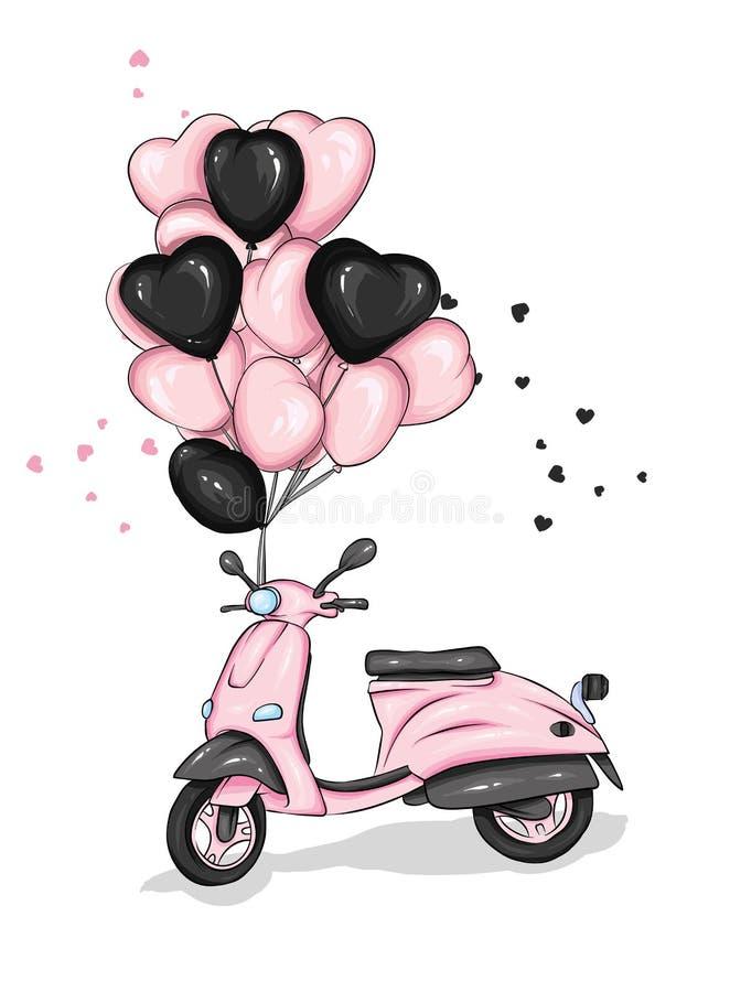Moped z sercowatymi balonami motocykl Wektorowa ilustracja dla kartka z pozdrowieniami lub plakata Miłość, przyjaźń, walentynka d ilustracji