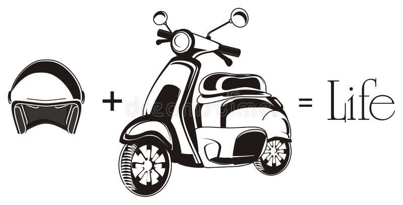 Moped z znakami royalty ilustracja