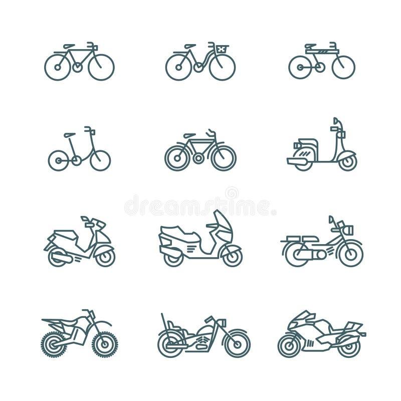 Mopeden motorcykeln, sparkcykeln, cykel, cyklar den tunna linjen vektorsymboler vektor illustrationer