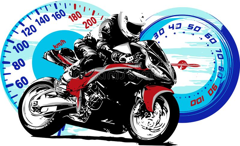 Mopedryttare, abstrakt vektorkontur Springa för vägmotorcykel stock illustrationer