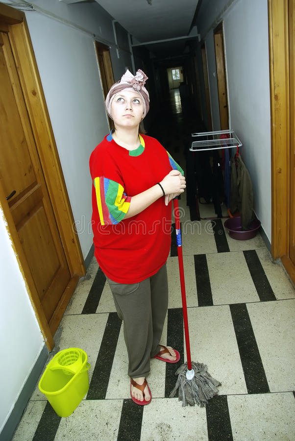 Mopping the hallway royalty free stock photo