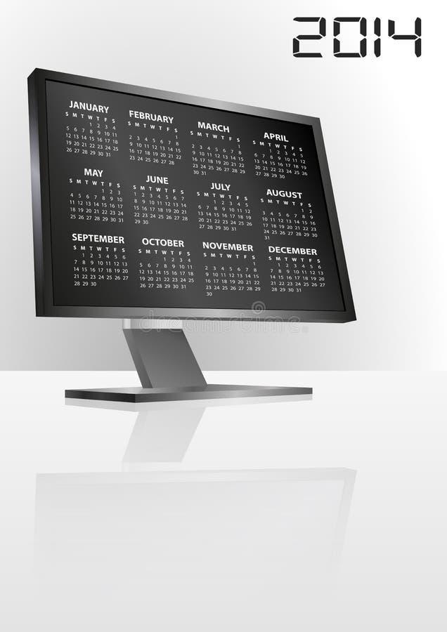 mopnitor de 2014 calendarios ilustración del vector